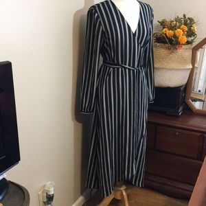 LOFT Black & White Striped Wrap Dress
